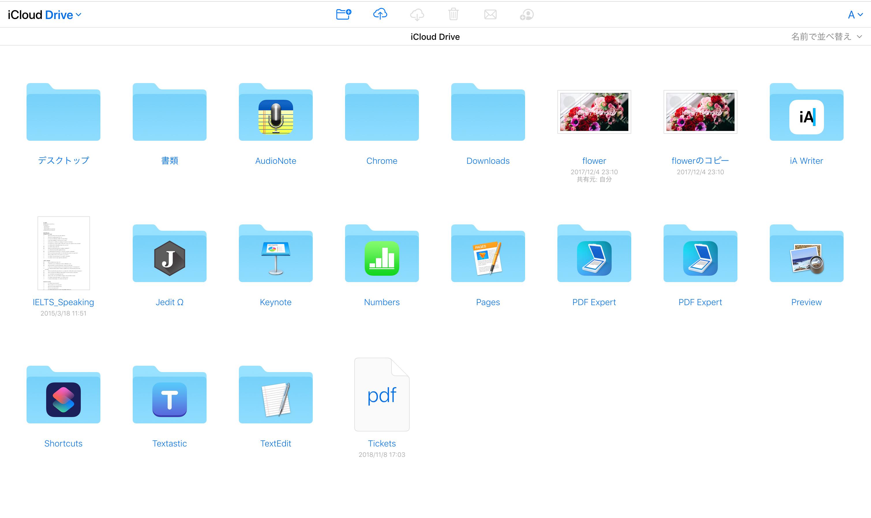 iCloud Driveのログイン後のページ