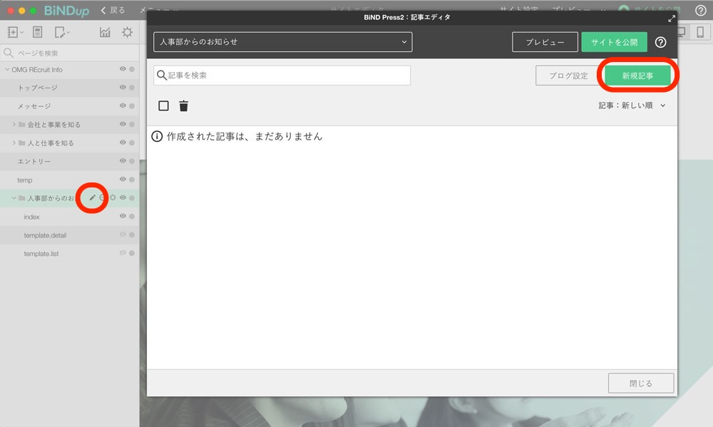 鉛筆アイコンをクリックして表示した記事エディタの画面