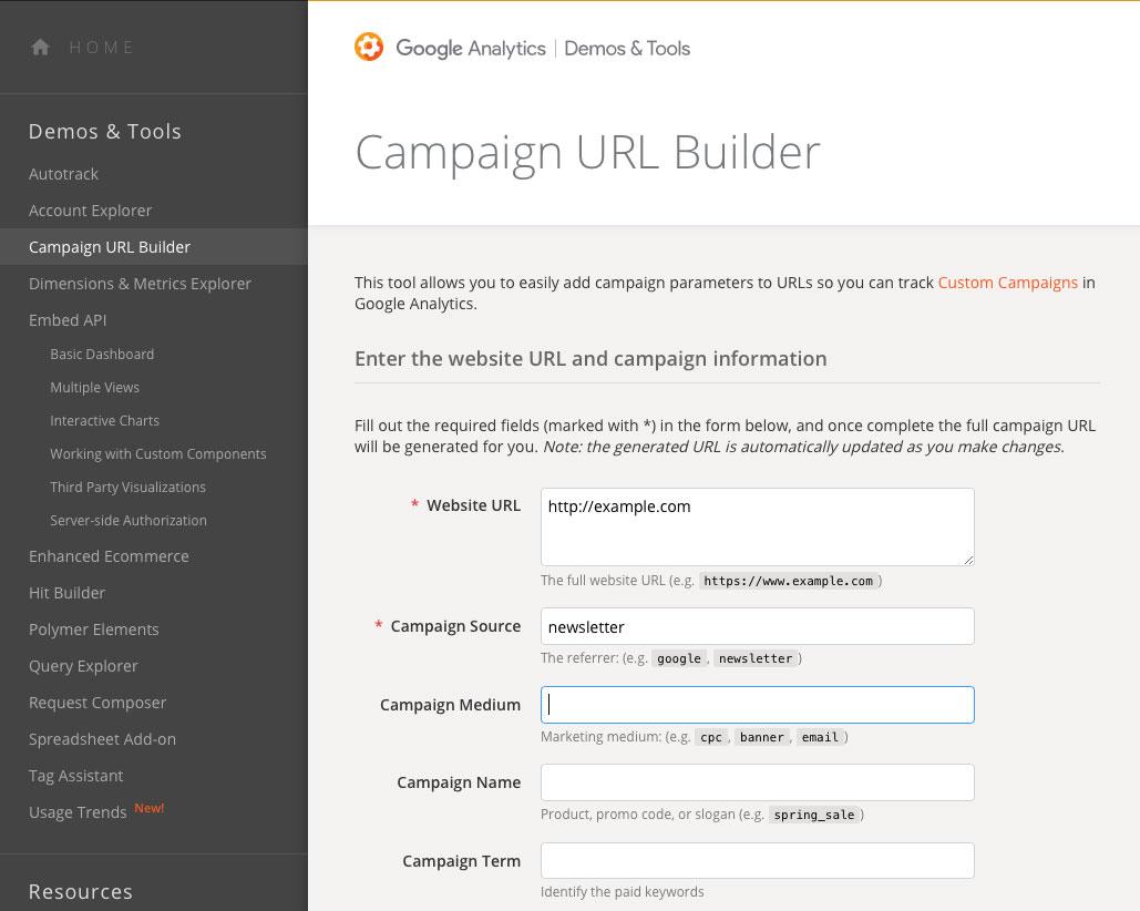 Campaign URL BuilderのURL作成画面