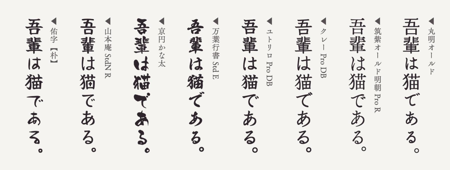 縦書きに合う日本語フォント