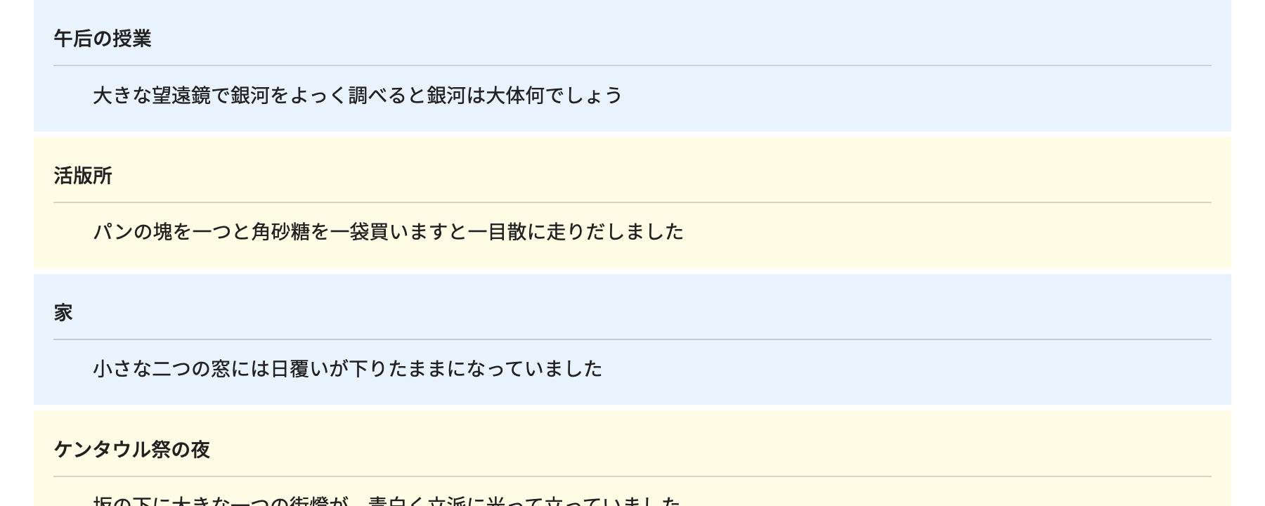 インデックス式リストのアレンジ例