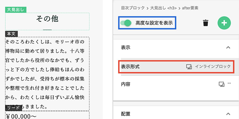 高度な設定にチェックを入れ「表示形式」を編集